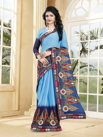 Buy Sky Blue Georgette Saree with Thread Embroidery Online from YOYO Fashion