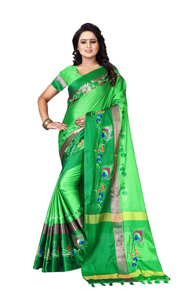 Buy Thread Work Green Polyester Saree Online from YOYO Fashion