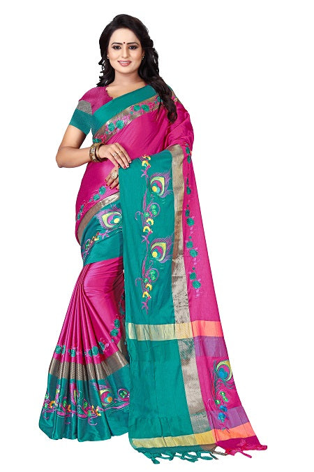 Buy Thread Work Pink Green Polyester Saree Online from YOYO Fashion