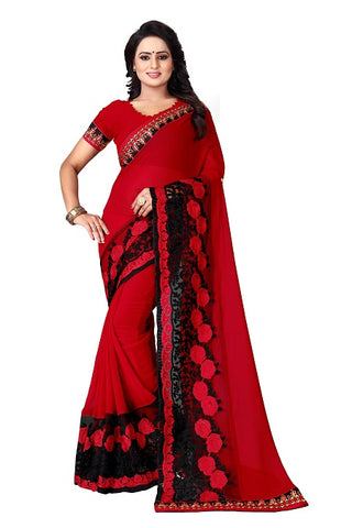 Buy Thread Work Red Georgette Saree Online from YOYO Fashion