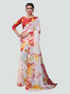 Buy White and Red Printed Georgette Saree Online - YOYO Fashion