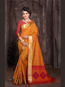 Buy Yellow Banarasi Silk Saree with Border Online from YOYO Fashion