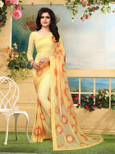 Buy Yellow Georgette Embroidered Saree Online from YOYO Fashion