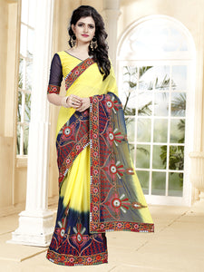 Buy Yellow Georgette Saree with Thread Work Online from YOYO Fashion