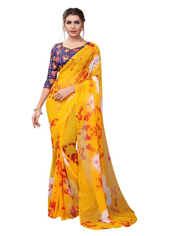 Buy Yellow Printed Georgette Saree Online from YOYO Fashion