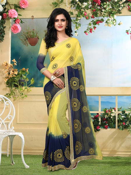 Buy Yellow and Blue Georgette Saree Online - YOYO Fashion