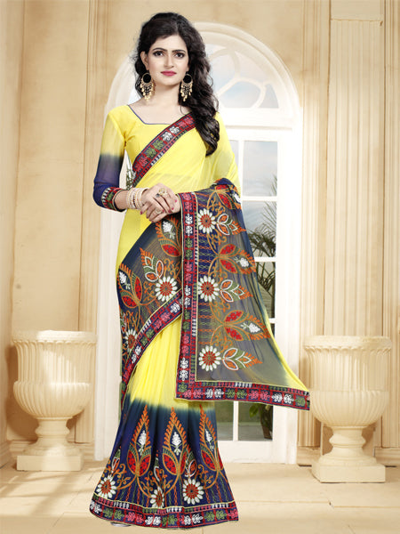 Buy Yellow and Blue Saree with Thread Work Online from YOYO Fashion