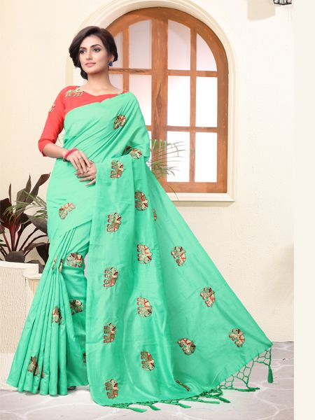 Buy C-Green Embroidered Saree With Blouse Online - YOYO Fashion