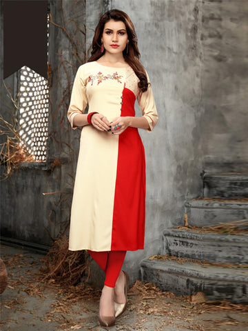 Buy Cream and Red Heavy Rayon Embroidery Work Kurti Online - YOYO Fashion
