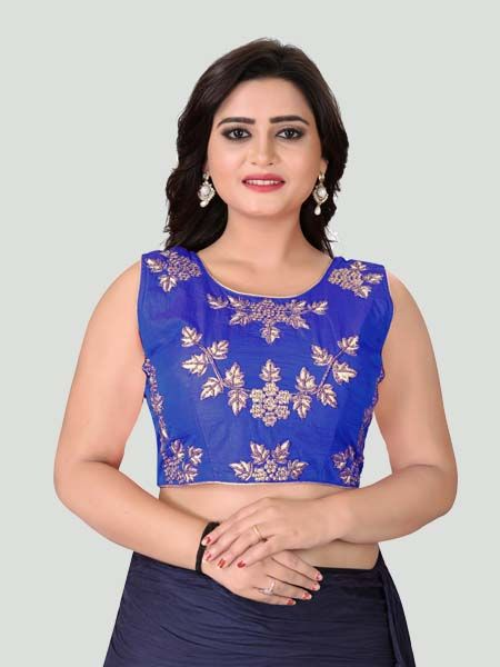Dark Blue Round Neck Women's Stitched Blouse Online - YOYO Fashion