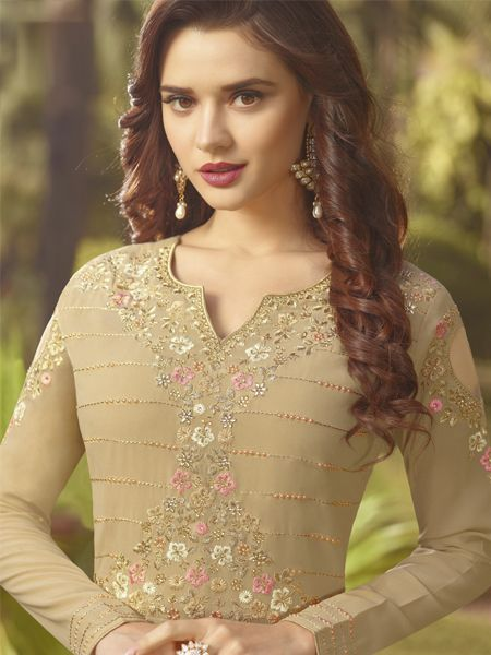 Buy Designer Beige Anarkali Salwar Suit Online - YOYO Fashion