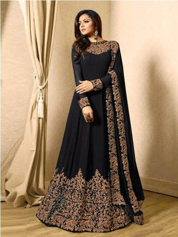 Buy Designer Black Embroidered Anarkali Suit Online - YOYO Fashion