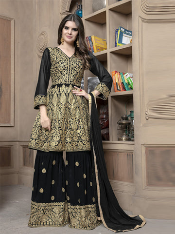 Front of Pakistani Black Sharara Suit Design Online - YOYO Fashion
