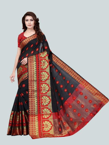 Buy Designer Black jacquard Fancy Party Wear Saree Online - YOYO Fashion