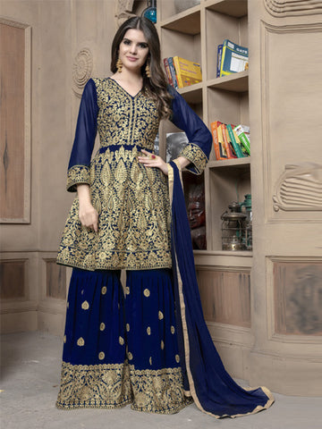 Front of Pakistani Blue Sharara Suit Design Online - YOYO Fashion
