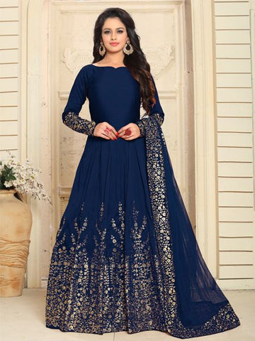 Buy Designer Blue Semi-Stitched Anarkali Suit Online - YOYO Fashion.