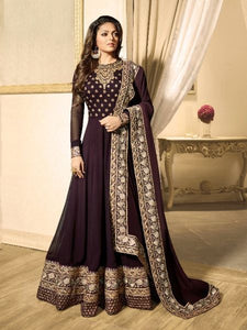 Buy Brown Georgette Anarkali Suit Online - YOYO Fashion