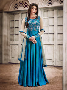 Buy Designer Fancy Silk Sky Blue Anarkali Gown Salwar Suit Online - YOYO Fashion