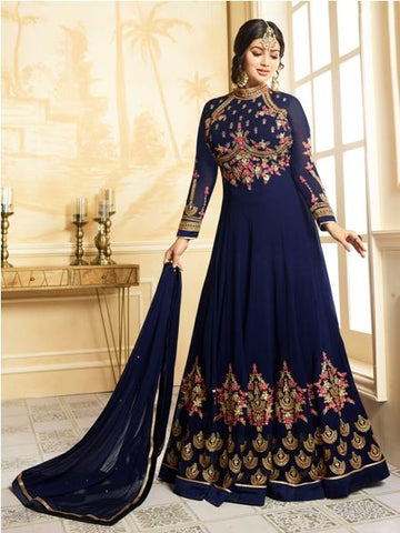 Designer Faux Georgette Blue heavy Embroidered and Handwork  Anarkali Suit