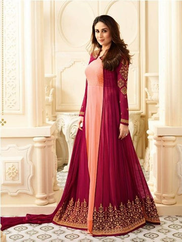 Designer Peach & Maroon Anarkali Suit Online - YOYO Fashion