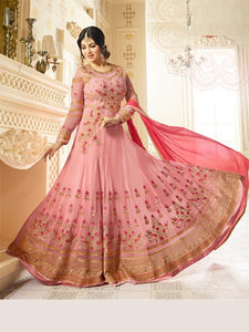 Buy Designer Faux Georgette Pink heavy Embroidered and Handwork Anarkali Suit Online - YOYO Fashion