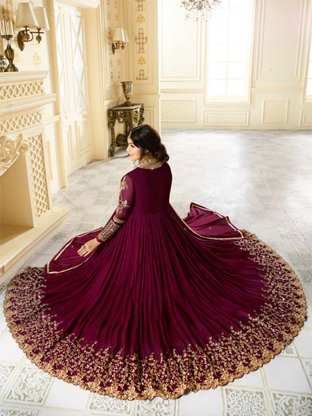 Buy Golden Embroidered Wine Anarkali Suit Online - YOYO Fashion
