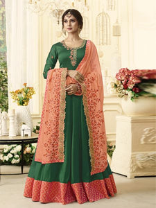 Buy Designer Green Anarkali Salwar Suit Online - YOYO Fashion
