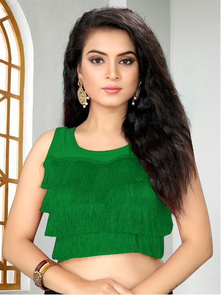 Buy Designer Green Ruffle Saree Blouse Online -YOYO Fashion