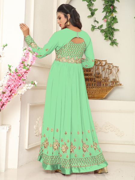 Buy Designer Green Faux Georgette Embroidered Salwar Suit Online - YOYO Fashion