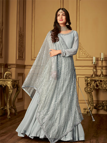 Designer Grey Anarkali Salwar Suit Online - YOYO Fashion