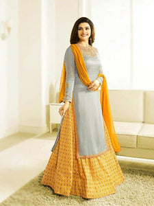 Buy Designer Grey & Yellow Indo Western Dress Online - YOYO Fashion