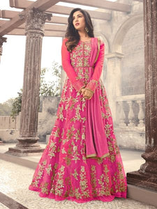 Buy Pink Embroidered Net Anarkali Suit Online - YOYO Fashion