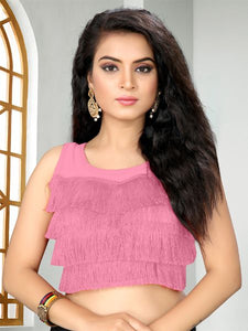 Buy Designer Light Pink Ruffle Saree Blouse Online - YOYO Fashion