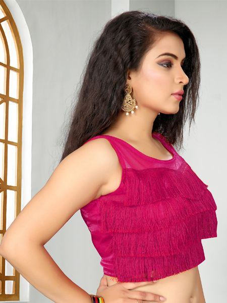 Buy Designer Magenta Ruffle Saree Blouse Online - YOYO Fashion
