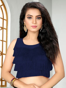 Buy Designer Navy Blue Ruffle Saree Blouse Online - YOYO Fashion