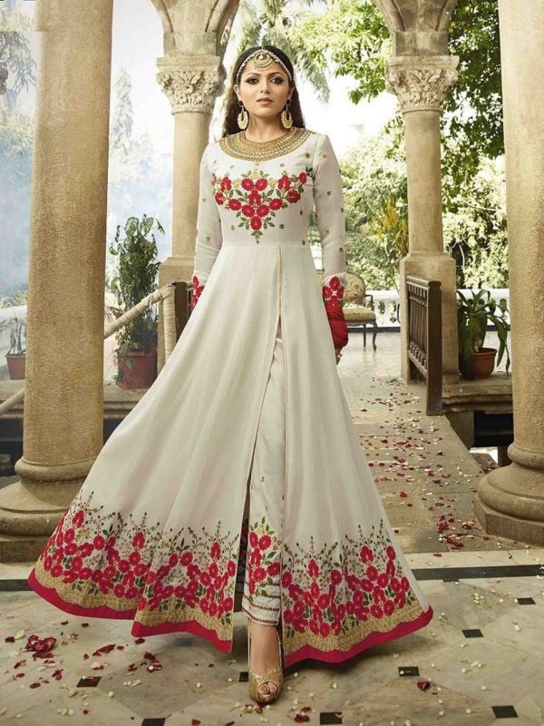 Buy Off White & Red Front-Slit Anarkali Suit Online - YOYO Fashion