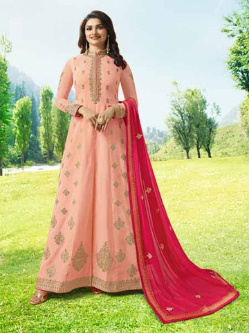 Designer Peach Anarkali Salwar Suit Online -YOYO Fashion