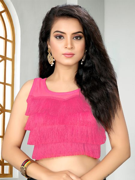 Buy Designer Pink Ruffle Saree Blouse Online - YOYO Fashion