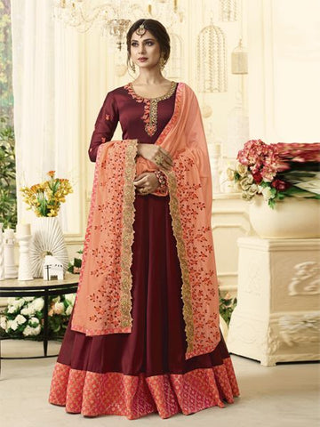 Buy Designer Red Anarkali Salwar Suit Online - YOYO Fashion