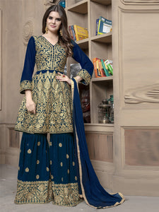 Front of Pakistani Turquoise Sharara Suit Design Online - YOYO Fashion