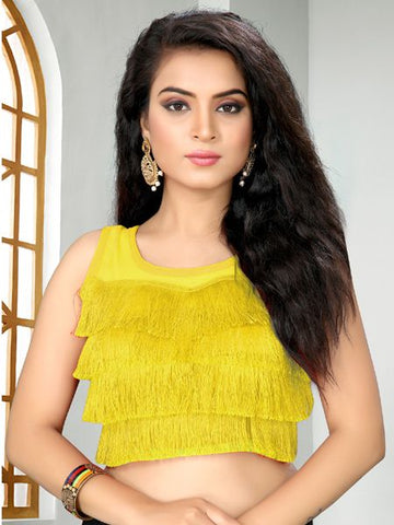Buy Designer Yellow Ruffle Saree Blouse Online - YOYO Fashion