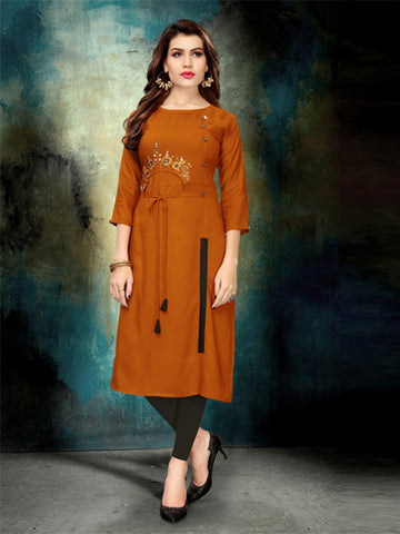 Buy Elegant Heavy Rayon Embroidery Work kurti Online - YOYO Fashion