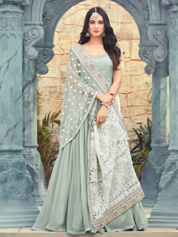 Resham Embroidered Ash Grey Anarkali Suit