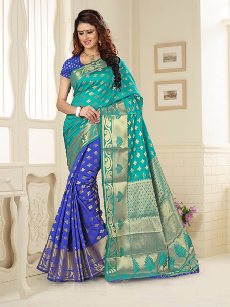 Designer Blue and Firozi jacquard  Silk Saree
