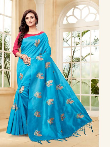 Firoji Embroidered Saree With Blouse