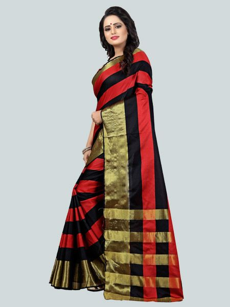 Buy Red and Black Striped Silk Saree Online - YOYO Fashion