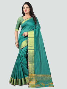 ae8b9f0ff8263 Buy Plain Turquoise Silk Saree with Golden Border Online from YOYO Fashion