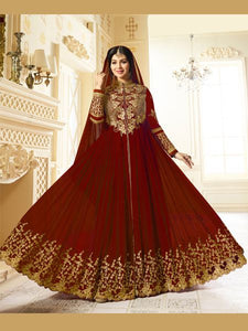 Buy Golden Embroidered Red Anarkali Suit Online - YOYO Fashion