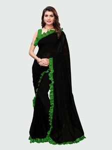 Green and Black Ruffle Saree Online - YOYO Fashion