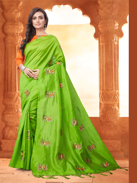 Buy Embroidered Saree With Blouse Online - YOYO Fashion